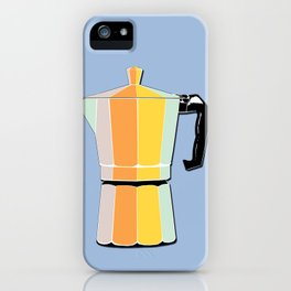 Retro Coffee Pot - Vintage Spring Colors on Robin's Egg Background iPhone Case