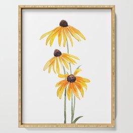 3 yellow gloriosa daisies Serving Tray