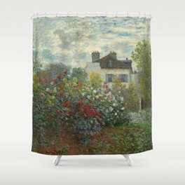 Claude Monet  A Corner of the Garden with Dahlias Shower Curtain
