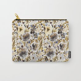 Gold and Grey Fall Feels Floral Carry-All Pouch