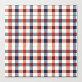 Plaid Red White And Blue Lumberjack Flannel Canvas Print