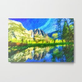 Reflection in Merced River of Yosemite waterfalls Metal Print