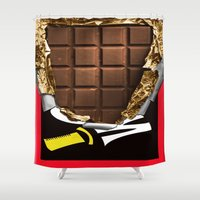willy wonka Shower Curtains featuring Wonka Chocolate Bar by ThreeBoys