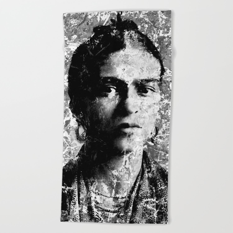 Frida kahlo black white version beach towel by vonis society6