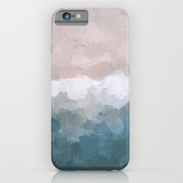 Turquoise Aqua Blue White Dusty Rose Pink Abstract Painting, Modern Wall Art Print, Ocean Sunset Sand Beach Aerial View iPhone Case
