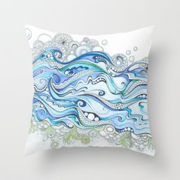 Ocean Seaweed Throw Pillow