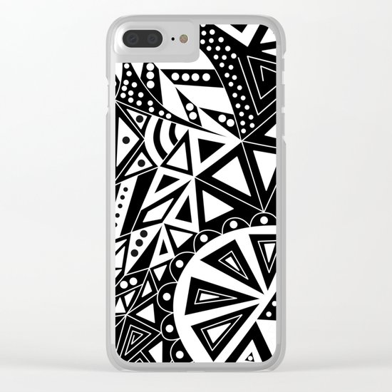 Black and white abstract pattern. 1 Clear iPhone Case