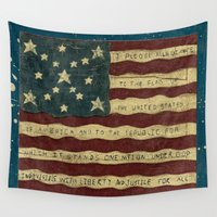 american flag Wall Tapestries featuring American Flag by Argi Univrs