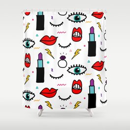 Abstract Eye and Cosmetics Shower Curtain