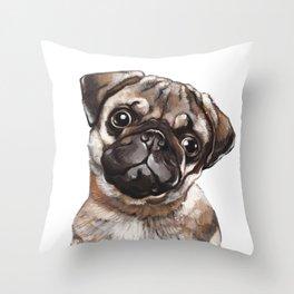 The Melancholy Pug Throw Pillow