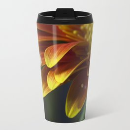 Macro photograph of a water drop on a yellow & orange Gerbera Daisy  petal with added lens flare. Travel Mug