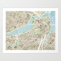 boston map Art Prints featuring Boston Sepia Watercolor Map by Anne E. McGraw