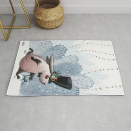 Print with a running rabbit. Cute rabbit design Rug