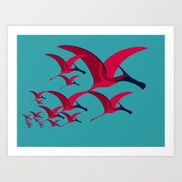 Pterodactyl Flight School Turquoise and Crimson Art Print