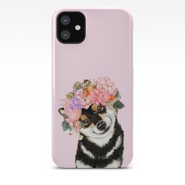 Black Shiba Inu with Flower Crown Pink iPhone Case