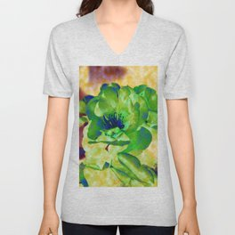Yellow Rose Abstract Unisex V-Neck