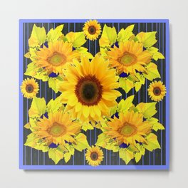 Yellow Sunflowers Pattern in Black-Blue Metal Print