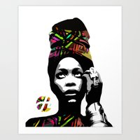 erykah badu Art Prints featuring Erykah Abi Wright (Badu)  by hilbertart