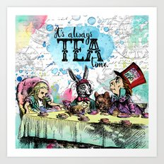 Alice in Wonderland - Tea Time Art Print