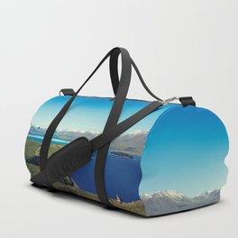 She felt tiny in Lake Tekapo Duffle Bag