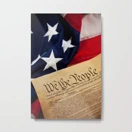 Constitution: Overhead View of USA Constitution and Flag Metal Print