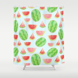 Juicy Watermelon Pattern with Gold Shower Curtain