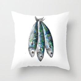 three Mackerel Throw Pillow