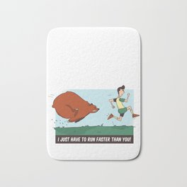 Funny Bear Camping design - Chased By A Bear Outdoors Bath Mat