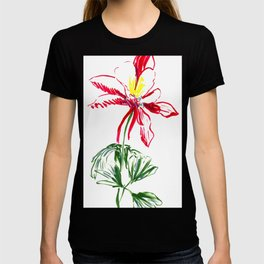 Red Columbine Flower in watercolor T-shirt