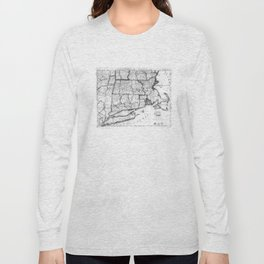 Vintage Map of New England States (1843) BW Long Sleeve T-shirt