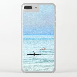 Seascape with kayaks watercolor Clear iPhone Case