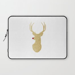 Rudolph The Red-Nosed Reindeer | Gold Glitter Laptop Sleeve