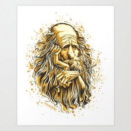 face of leonardo da vinci Art Print