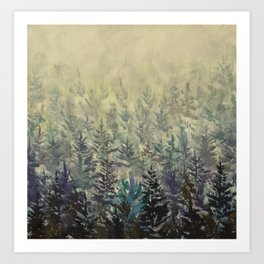 Dream foggy forest landscape acrylic painting fine art on canvas by Rybakow Art Print
