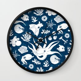 Cephalopods: Background Blue Wall Clock