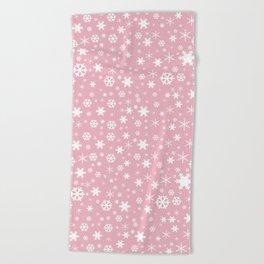 White & blush pink snowflake pattern Beach Towel