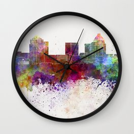 Greensboro skyline in watercolor background Wall Clock