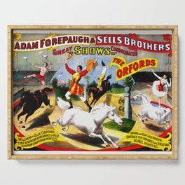 Vintage Circus Poster - Horse Trick Riders Serving Tray