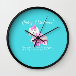 Bichon Frise pink christmas holiday themed pattern print pet friendly dog breed gifts Wall Clock