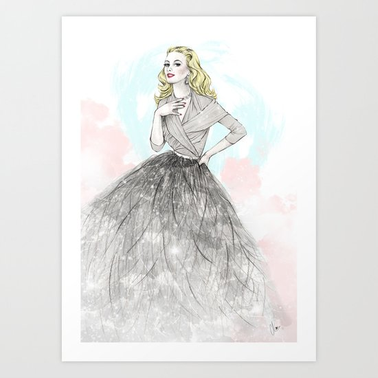 Ostrich Fashion Illustration Art Print