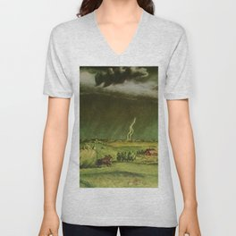 The Line Storm - Thunder and Lightning on the American Plains by John Steuart Curry Unisex V-Neck