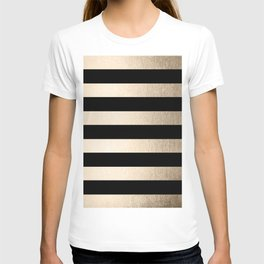 Simply Striped White Gold Sands on Midnight Black T-shirt
