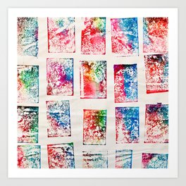 Deck of Cards Monoprint Art Print