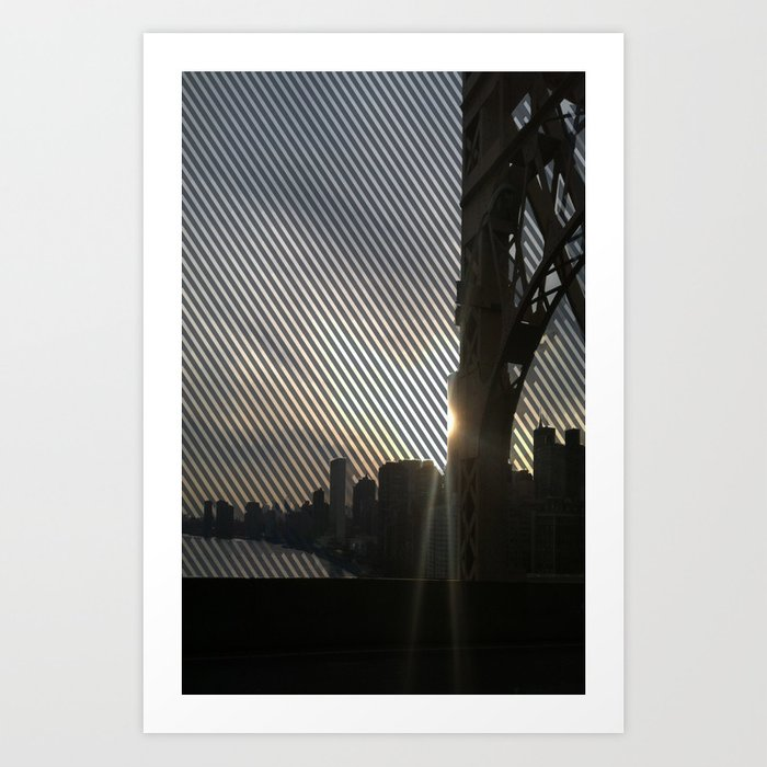 Striped View of Lower NYC from the 59th St. Bridge  Art Print