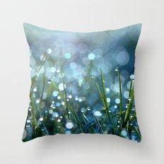 Fairy Drops Aqua Blue Throw Pillow