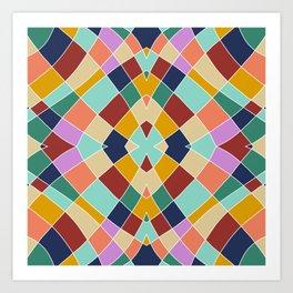 Retro Colored Church Window Pattern Art Print