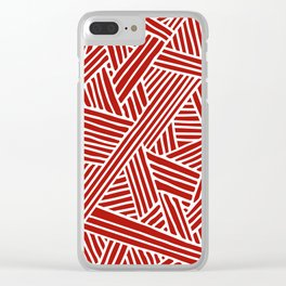 Abstract Navy Red & White Lines and Triangles Pattern Clear iPhone Case