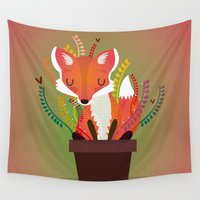 fox Wall Tapestries featuring Fox by Maria Jose Da Luz