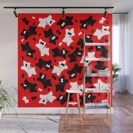 The pattern of butterflies. White and black butterfly on a red background. Wall Mural