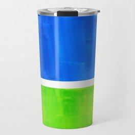 Abstract Minimalist Mid Century Modern Watercolor Geometric Squares Rothko Lime Green Marine Blue Travel Mug